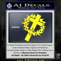 Cross Crucifix Decal Sticker Christian Thorns Yellow Laptop 120x120
