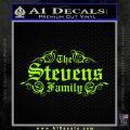 Custom Family Name Decal Sticker D1 Lime Green Vinyl 120x120