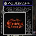 Custom Family Name Decal Sticker D1 Orange Emblem 120x120