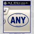 Custom Oval Decal Sticker Blue Vinyl 120x120