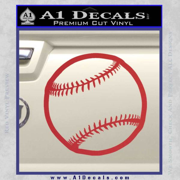 Customizable Baseball 3D Decal Sticker Red