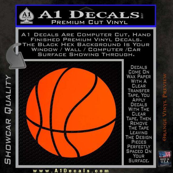 Customizable Basketball Decal Sticker D1 Orange Emblem