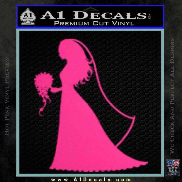 Customizable Bride Decal Sticker Pink Hot Vinyl