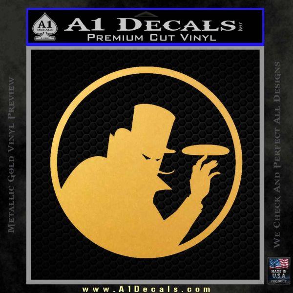 Disc golf evil villain decal sticker gold vinyl 120x120
