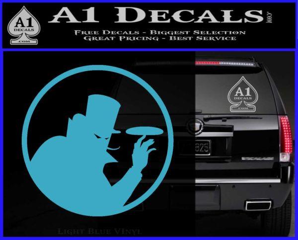 Disc golf evil villain decal sticker light blue vinyl 120x97