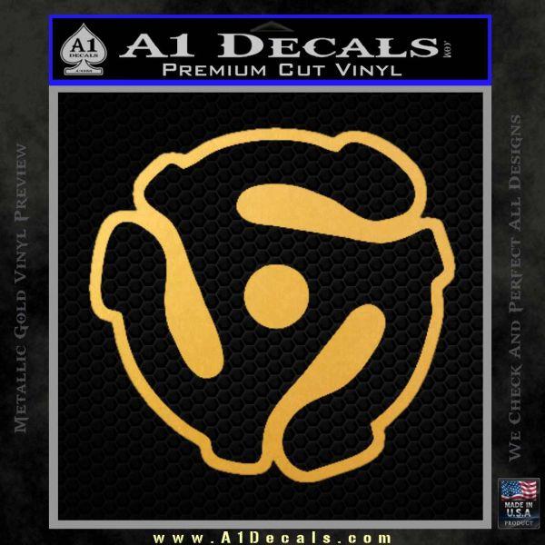 Dj 45 Adapter Spider Vinyl Record Decal Sticker Gold Vinyl