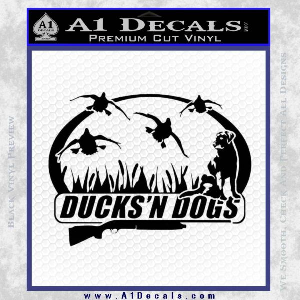 Ducks N Dogs Decal Sticker Black Vinyl