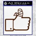 Facebook Like Decal Sticker Busted Thumb BROWN Vinyl 120x120