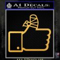 Facebook Like Decal Sticker Busted Thumb Gold Vinyl 120x120