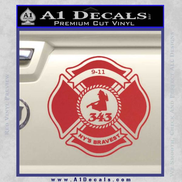 Fire Fighter 9 11 Decal Sticker Red