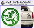 Fire Fighter Decal Sticker Circle Green Vinyl Logo 120x97