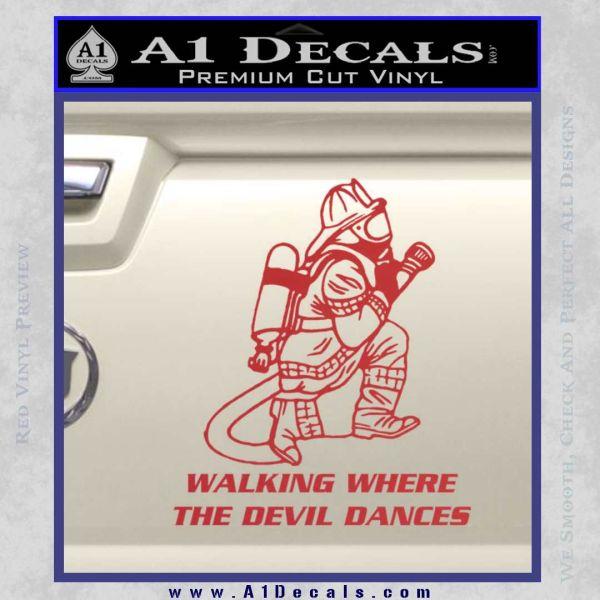 Fire Fighter Decal Sticker Devil Dances Red