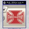 Firefighter Iron Cross Decal Sticker Red 120x120