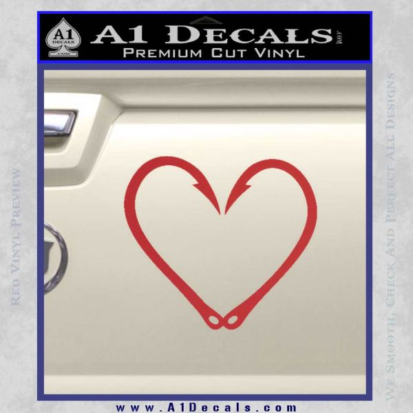 Fishing Hook Heart Decal Sticker Red
