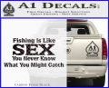 Fishing Is Like Sex Decal Sticker Carbon FIber Black Vinyl 120x97