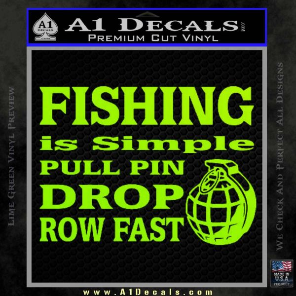 Fishing Is Simple Pull Pin Decal Sticker Lime Green Vinyl