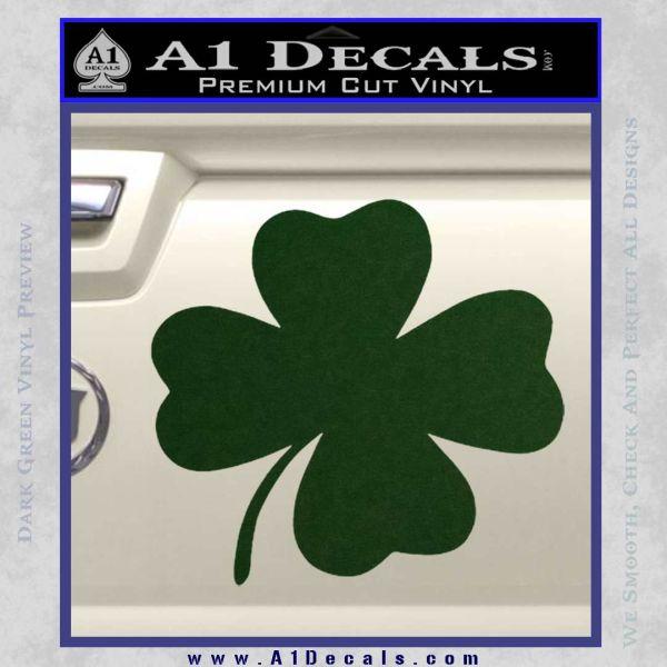 Four Leaf Clover Decal Sticker Dark Green Vinyl