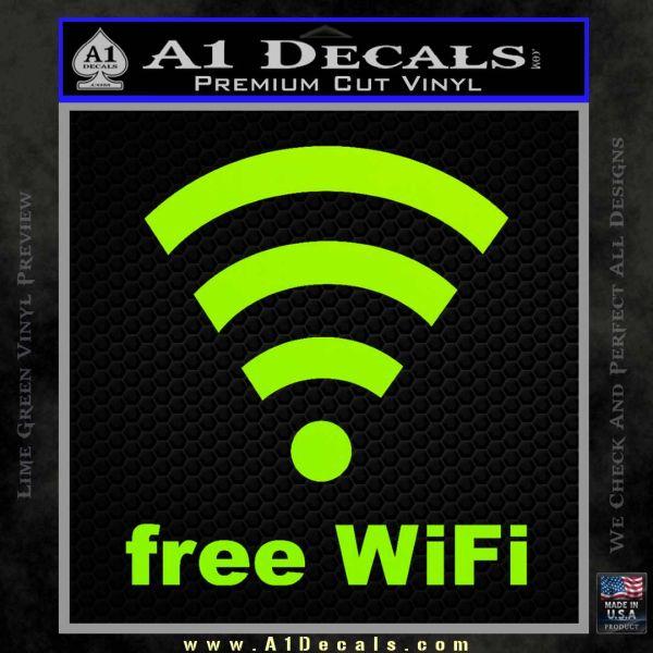 Free WiFi Custom Decal Sticker Lime Green Vinyl