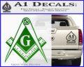 Freemason Compass G Decal Sticker Green Vinyl Logo 120x97