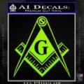 Freemason Compass G Decal Sticker Lime Green Vinyl 120x120
