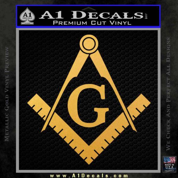 Freemason Compass Ruler Decal Sticker G Gold Vinyl1