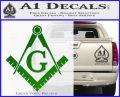 Freemason Compass Ruler Decal Sticker G Green Vinyl Logo1 120x97
