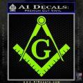Freemason Compass Ruler Decal Sticker G Lime Green Vinyl1 120x120