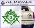 Freemason Masonic G Decal Sticker Green Vinyl Logo 120x97