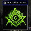 Freemason Masonic G Decal Sticker Lime Green Vinyl 120x120