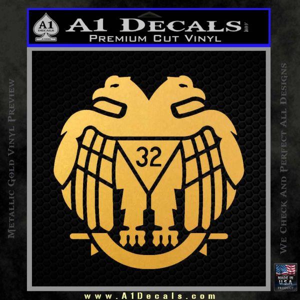 Freemason Scottish Rite Fraternal Decal Sticker D2 Gold Vinyl