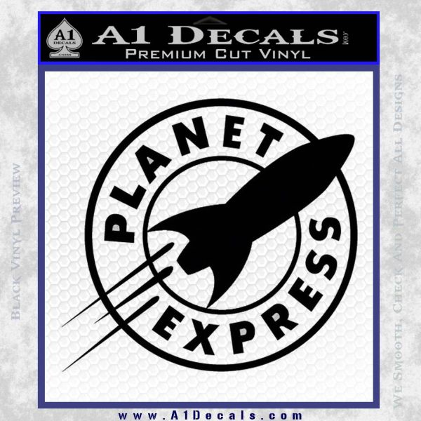 Futurama Planet Express Decal Sticker Black Vinyl