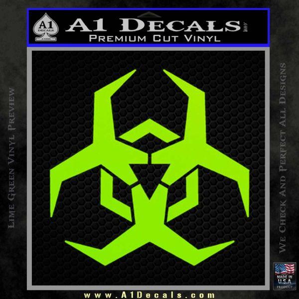 Futuristic Biohazard Decal Sticker D2 Lime Green Vinyl