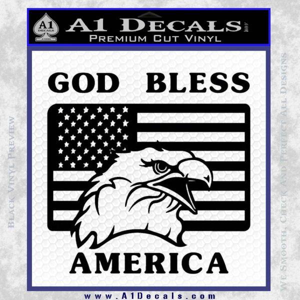 God Bless America Decal Sticker Eagle Flag Black Vinyl