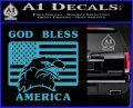 God Bless America Decal Sticker Eagle Flag Light Blue Vinyl 120x97