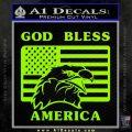 God Bless America Decal Sticker Eagle Flag Lime Green Vinyl 120x120