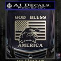 God Bless America Decal Sticker Eagle Flag Metallic Silver Emblem 120x120