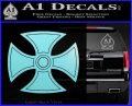 He Man Iron Cross Crest D1 Decal Sticker Light Blue Vinyl Black 120x97