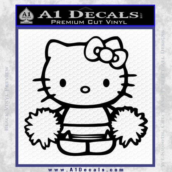 Hello Kitty Cheerleader Decal Sticker Black Vinyl