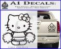 Hello Kitty Cheerleader Decal Sticker Carbon FIber Black Vinyl 120x97