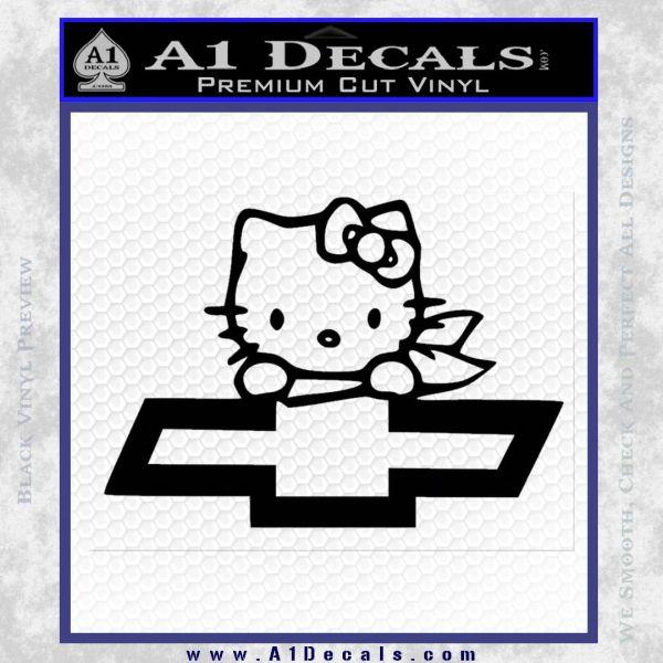 Hello Kitty Chevy Cheverolet D2 Decal Sticker Black Vinyl