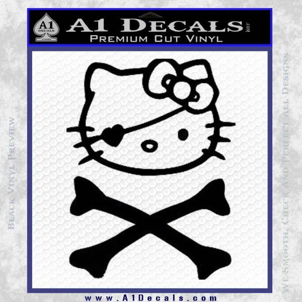Hello Kitty Crossbones Cute Decal Sticker Black Vinyl