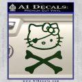 Hello Kitty Crossbones Cute Decal Sticker Dark Green Vinyl 120x120