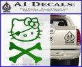 Hello Kitty Crossbones Cute Decal Sticker Green Vinyl Logo 120x97