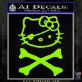 Hello Kitty Crossbones Cute Decal Sticker Lime Green Vinyl 120x120