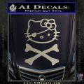 Hello Kitty Crossbones Cute Decal Sticker Metallic Silver Emblem 120x120