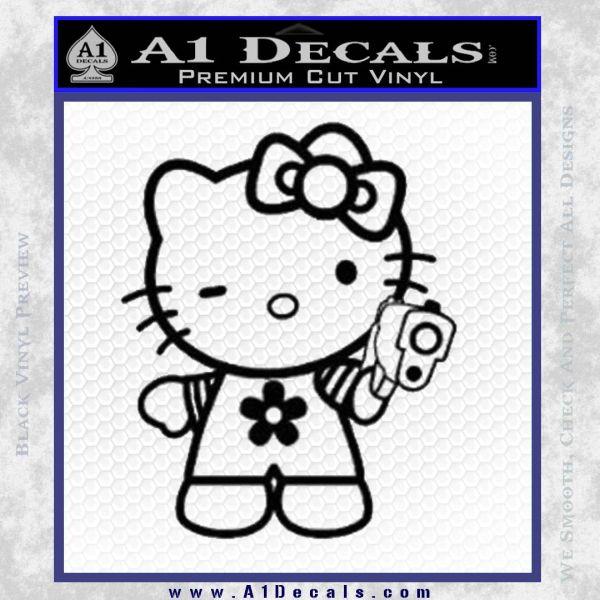 Hello Kitty Gangster Decal Sticker Black Vinyl
