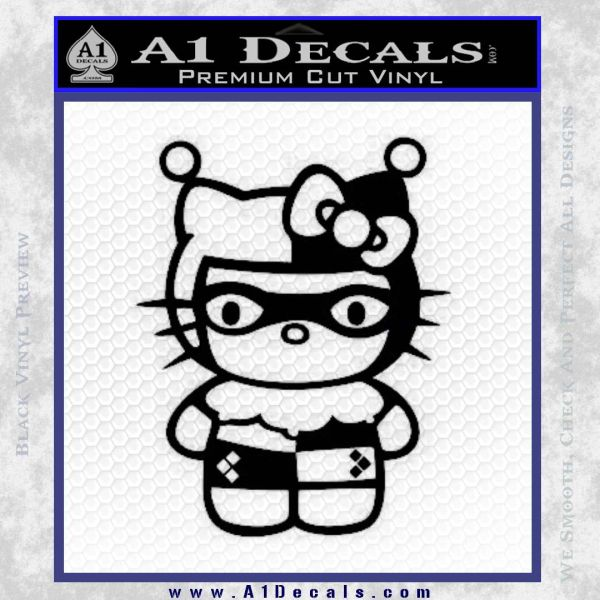 Hello Kitty Harley Quinn Decal Sticker Black Vinyl