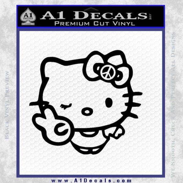 Hello Kitty Peace Sign R Decal Sticker Black Vinyl