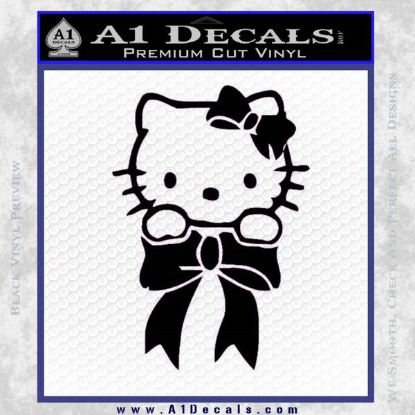 Hello Kitty Ribbon Decal Sticker Black Vinyl Black