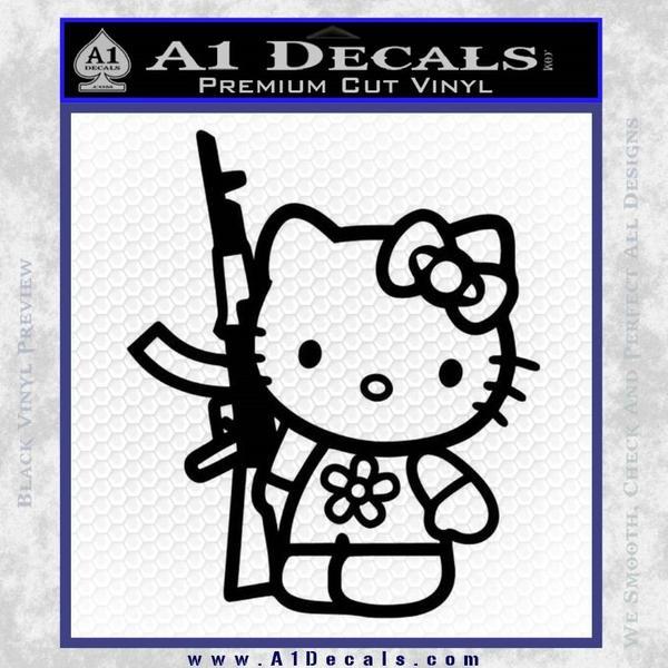 Hello Kitty Rifle Decal Sticker Black Vinyl Black